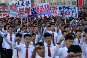 North Korea stages anti-US rally in its leader Kim Jon's battle with...