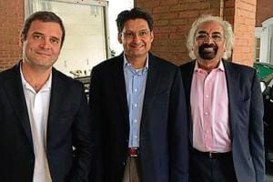 Congress vice-president Rahul Gandhi, Rohtak MP Deepender Hooda and policy professional Sam Pitroda during their recent visit to the United States.