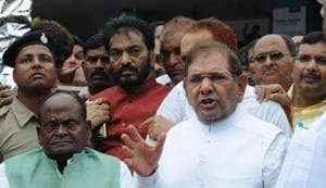 JD (U) leader Sharad Yadav (centre) with his supporters in Patna.