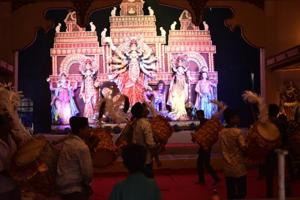A Durga Puja pandal at Pocket 40 in CR Park on Sunday.