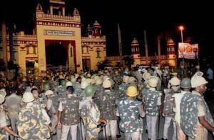 Heavy police personnel deployed at Banaras Hindu University where students were holding a protest in Varanasi, late Saturday night. Female students at the prestigious University were protesting against the administration