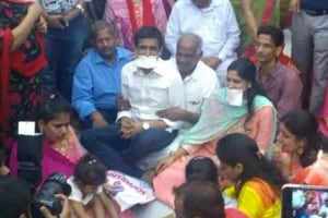 Sumit and Anamika Rathore at a religious ceremony.