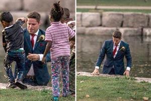 Wedding photographer Darren Hatt captured the dramatic moment on camera  and applauded the groom for acting promptly