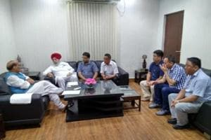 Union home minister Rajnath Singh (extreme Left) meeting Darjeeling BJP MP S S Ahluwalia and Gorkha leaders at his New Delhi residence earlier this month.