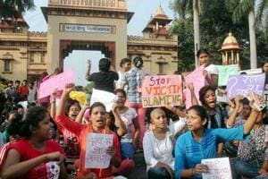 A protest on Saturday by the students of Banaras Hindu University against the molestation of a student inside the campus, in Varanasi.