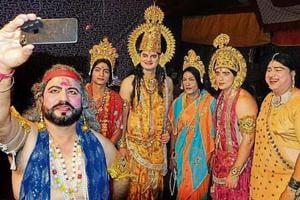 (From left) Artistes from the Sector-17 Ramlila committee — Sunil Sharma (Dasharatha), Kamal (Sita), Gaurav Bagga (Rama), Puneet Jain (Kaikeyi), Saurabh Sharma (Lakshmana) and Kapil Puri (Kaushalya) — taking a selfie in Chandigarh on Tuesday.