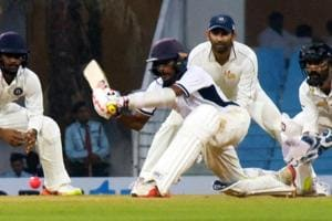 India Blue batsman Abhimanyu Easwaran en route to a spectacular century against India Red, saving them from follow on in the Duleep Trophy final.