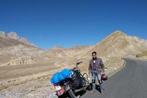 Vikrant Rai at NH1, Leh-Srinagar Highway. The actor covered more than 3,200km on his motorcycle.
