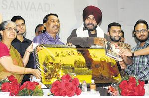 Punjab local bodies and tourism minister Navjot Singh Sidhu during an interaction with students at Panjab University in Chandigarh on Tuesday.