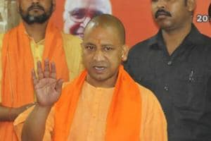 CM Yogi Adityanath during his first visit at Gorakhnath temple after became a chief minister of Uttar Pradesh on March 26, 2017.