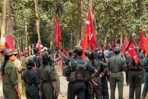 A gathering of Maoists at an undisclosed place in Chhattisgarh. Mediapersons say security forces are threatening journalists and Maoists are also killing them branding them as police informers.