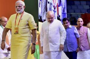 Prime Minister Narendra Modi with BJP President Amit Shah and Union Ministers Niti Gadkari and Rajnath Singh at BJP