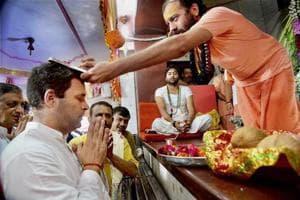 Congress vice president Rahul Gandhi visits Chamunda Mata Temple, Chotila in Surendranagar on September 27.