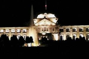 A view of the main building of the Allahabad High Court illuminated with LED lighting.