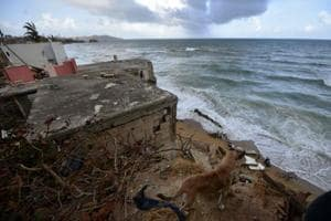 A beach house damaged by Hurricane Maria in Yabucoa, in the eastern part of storm-battered Puerto Rico on September 28.