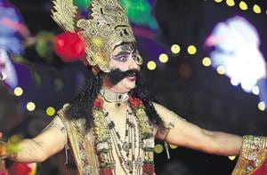 An artiste performs at the Ramlila organised by Shri Dharmic Leela Committee at Red Fort on Wednesday.