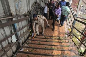 Police security after a stampede broke out at the Elphinstone railway station bridge on Friday morning in Mumbai.