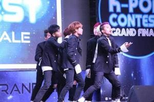 Immortals Army performs during K-pop India Contest in New Delhi on July 29, 2017.