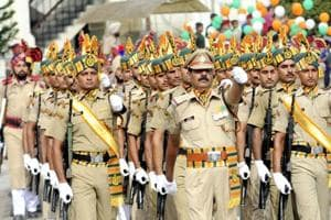 A regiment of the Indo-Tibetan Border Police take part in 71st Independence Day parade in Patiala on August 15, 2017.