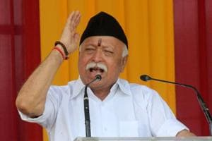 RSS chief Mohan Bhagwat addresses during Vijayadashami function at RSS headquater in Nagpur on Saturday.