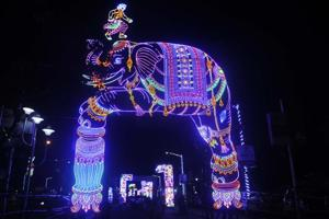 Sreebhumi Sporting Club Durga Puja at Lake Town in Kolkata. The theme: Bahubali.