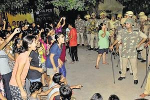 Students and police during the standoff in the BHU campus on September 21.