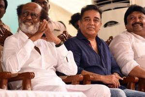 Tamil actors Rajnikanth and Kamal Haasan at the inaugural of the Shivaji Ganeshan memorial in Chennai on Sunday.