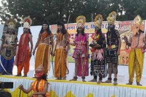 Members of the Ramleela party in Sirohi, which returned without burning the effigy of Ravana, seen on stage.