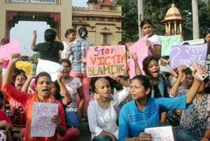 Students of the Banaras Hindu University protest against the molestation of a student inside the campus