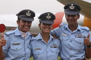 Air force's first three women fighter pilots (from left) Mohana Singh, Avani Chaturvedi and Bhawana Kanth were commissioned as flying officers in June 2016.
