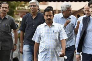 Aam Aadmi Party convener and Delhi CM Arvind Kejriwal with other party leaders in New Delhi