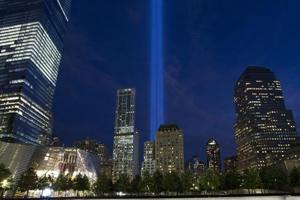 The beams of light symbolising the two World Trade Center towers the night before the 15th anniversary of the September 11, 2001 terrorist attacks in the United States on September 10, 2016 in New York.