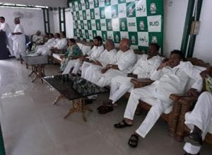 Former CM Rabri Devi (centre) at an RJD meeting in Patna on Wednesday.