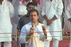 Congress vice president Rahul Gandhi addressing public in Amethi on October 4.