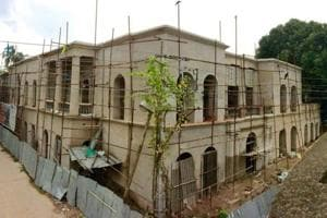 Work on the tavern's exteriors is almost complete. The building is situated on the banks of the Hooghly river.