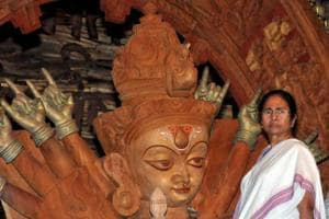 West Bengal chief minister Mamata Banerjee inaugurates Goddess Durga Puja pandal on the occasion of