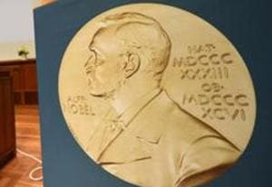 A medal of Alfred Nobel is pictured prior to the beginning of a press conference to announce the winner of the 2017 Nobel Prize in Medicine on October 2, 2017 in Stockholm.
