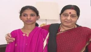 External affairs minister Sushma Swaraj (right) with Pakistan returned hearing and speech impaired girl Geeta.