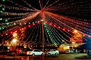 A shot of the beautifully decorated Defence Colony Diwali Mela.