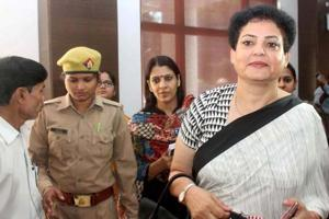Acting chairperson of National Commission for Women (NCW) Rekha Sharma arrives at Banaras Hindu University (BHU) in Varanasi on Thursday.