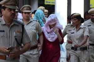 Honeypreet Insan with Sukhdeep Kaur at a Panchkula court on Tuesday evening.