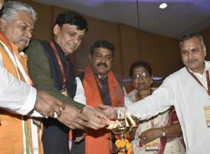 Union minister Dharmendra Pradhan (centre) and other BJP leaders at a party meet in Patna on Friday.