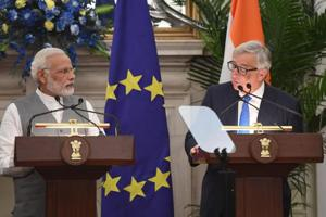 Prime Minister Narendra Modi (left) listens to European Commission president Jean-Claude Juncker during an exchange of agreements and press statement as the 14th EU-India Summit in New Delhi on October 6, 2017.