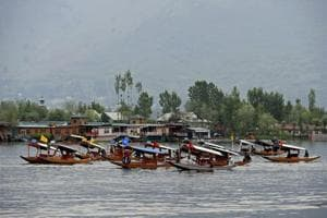 Boatmen row their boats during the Shikara festival, Dal Lake, Srinagar, May 2. The festival was organised by Jammu and Kashmir Tourism Department to promote tourism (Representative Photo)