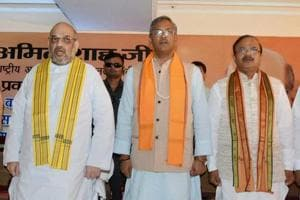 BJP President Amit Shah with Uttarakhand Chief Minister Trivendra Singh Rawat and other leaders at a party meeting in Dehradun on September 19.