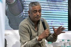 Rajdeep Sardesai speaking about his book 'Democracy's XI, The Great Indian Cricket Story' on the second day of the Khushwant Singh Literary Festival in Kasauli on Saturday.