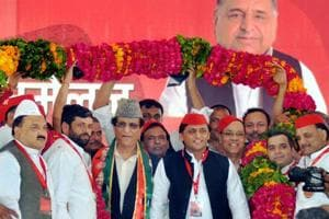 Samajwadi Party president Akhilesh Yadav (centre, red cap)  with colleagues at the  party's tenth national convention in Agra on October 5.  Akhilesh was re-elected  party president during the meet.