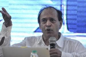Author Vikram Seth during a session on the second day of the Khushwant Singh Literary Festival in Kasauli on Saturday.
