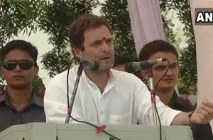Rahul Gandhi addressing a public meeting in Kheda, near Ahmedabad on Monday.