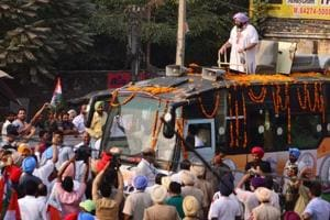 Punjab chief minister Captain Amarinder Singh during a road show in Batala on Monday.